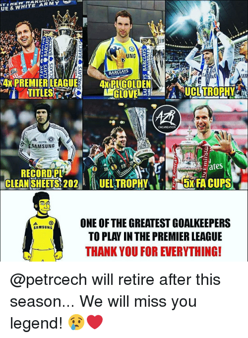 "we will miss you: UE & WHITE ARMY  UNG  BARCLAYS  TITLES  ORGANIZATION  SAMSUNG  RECORD,PL  CLEAN SHEETS: 202""  1UELTROPHY/).s5xFA CUPS  ONE OF THE GREATEST GOA  LKEEPERS  TO PLAY IN THE PREMIER LEAGUE  THANK YOU FOR EVERYTHING! @petrcech will retire after this season... We will miss you legend! 😢❤️"