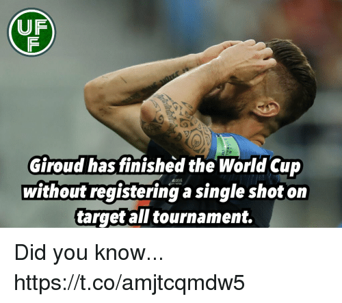 Memes, Target, and World Cup: UF  Giroud has finished the World Cup  without registering a single shot on  target all tournament. Did you know... https://t.co/amjtcqmdw5