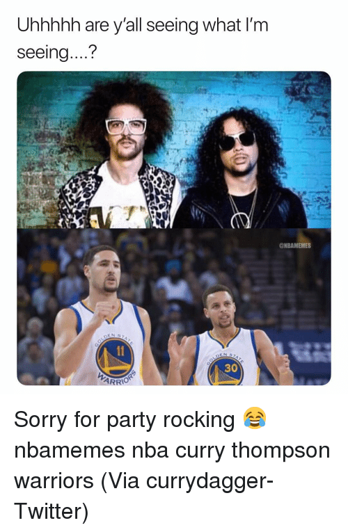 "Basketball, Nba, and Party: Uhhhhh are y'all seeing what I'm  seeing....""?  ONBAMEMES  30  ARRIO Sorry for party rocking 😂 nbamemes nba curry thompson warriors (Via currydagger-Twitter)"
