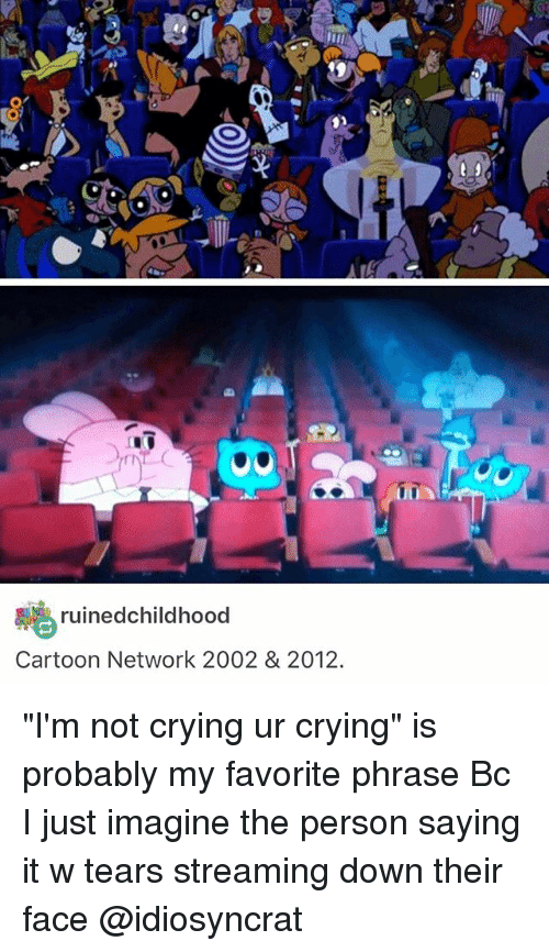 """cartoon networks: uined childhood  Cartoon Network 2002 & 2012.  UUA """"I'm not crying ur crying"""" is probably my favorite phrase Bc I just imagine the person saying it w tears streaming down their face @idiosyncrat"""