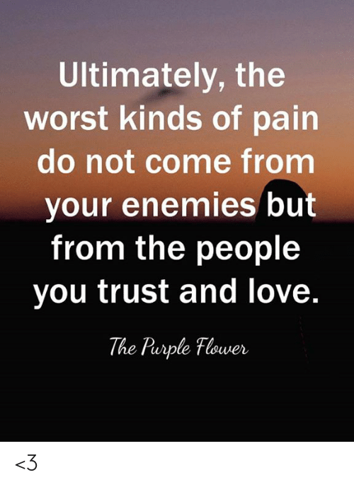 Love, Memes, and The Worst: Ultimately, the  worst kinds of pain  do not come from  your enemies but  from the people  you trust and love.  The Parple Flower <3