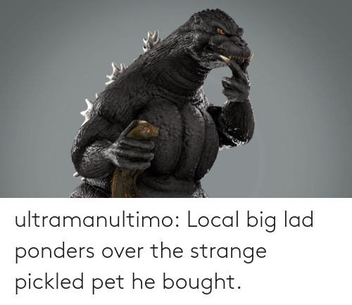 lad: ultramanultimo:   Local big lad ponders over the strange pickled pet he bought.