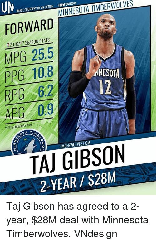 Memes, Nba, and Minnesota Timberwolves: UM  FORWARD  IMAGE COURTESY OF VN DESIGN foeVNDSGN  $2016/17 SEASON STATS  MPG 25.5  PPG 10.8  RPC 6.2  APG 0.9  INNESOTA  12  STATS FROM NBA.COM  Ay  2  TIMBERWOLVES.COM  TAJ GIBSON  2-YEAR $28M  ME Taj Gibson has agreed to a 2-year, $28M deal with Minnesota Timberwolves. VNdesign