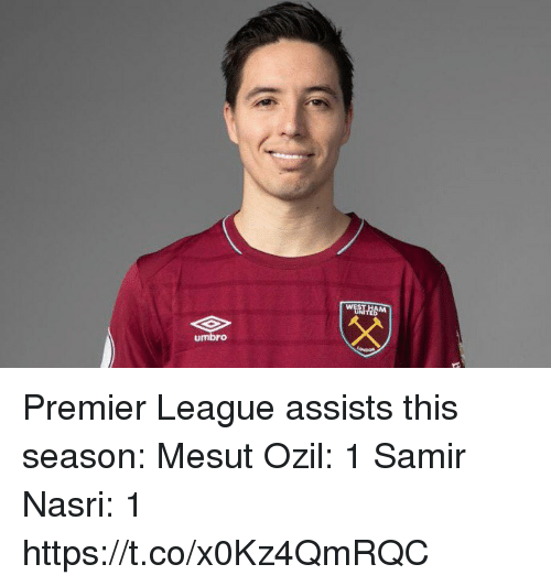 Premier League, Soccer, and League: umbro Premier League assists this season:  Mesut Ozil: 1 Samir Nasri: 1 https://t.co/x0Kz4QmRQC