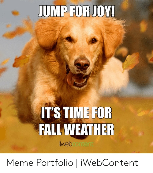 Fall Meme: UMP FOR JOY!  IT'S TIME FOR  FALL WEATHER  webcontent Meme Portfolio | iWebContent
