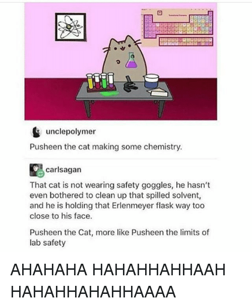 Pusheens: unclepolymer  Pusheen the cat making some chemistry.  carlsagan  That cat is not wearing safety goggles, he hasn't  even bothered to clean up that spilled solvent,  and he is holding that Erlenmeyer flask way too  close to his face.  Pusheen the Cat, more like Pusheen the limits of  lab safety AHAHAHA HAHAHHAHHAAH HAHAHHAHAHHAAAA