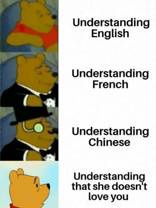 Love, Chinese, and English: Understanding  English  Understanding  French  Understanding  Chinese  Understanding  that she doesn't  love you
