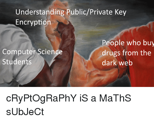 dark web: Understanding Public/Private Key  Encryption  Computer Scien  Students  People who buy  drugs from the  dark web cRyPtOgRaPhY iS a MaThS sUbJeCt