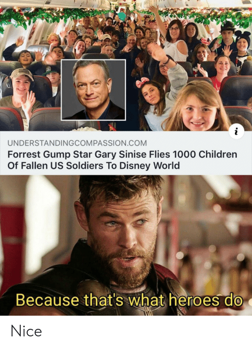 disney world: UNDERSTANDINGCOMPASSION.COM  Forrest Gump Star Gary Sinise Flies 1000 Children  Of Fallen US Soldiers To Disney World  Because that's what heroes do Nice