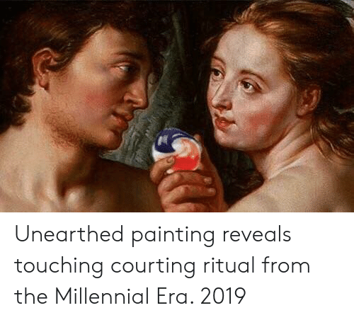 courting: Unearthed painting reveals touching courting ritual from the Millennial Era. 2019