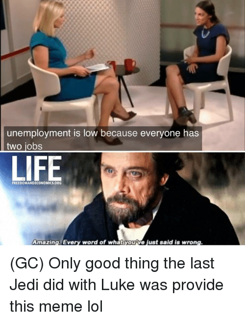 Meme Lol: unemployment is low because everyone has  two jobs  LIFE  FREEDOMANDECONOMICS ORG  Amazing Every word of whatyoutve just said is wrong (GC) Only good thing the last Jedi did with Luke was provide this meme lol