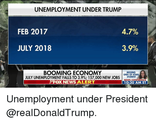 Memes, News, and Fox News: UNEMPLOYMENT UNDER TRUMP  FEB 2017  47%  JULY 2018  35%  BOOMING ECONOMY  JULY UNEMPLOYMENT FALLS TO 3.9%; 157,000 NEW JOBS I  FOX NEWS ALERT  MISSING  UNIV OF IOWA  STUDENT .  NEWS CONFERENCE  10:30 AM ET Unemployment under President @realDonaldTrump.