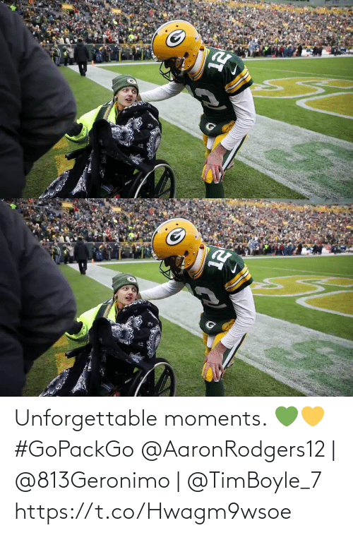 Moments: Unforgettable moments. 💚💛 #GoPackGo  @AaronRodgers12   @813Geronimo   @TimBoyle_7 https://t.co/Hwagm9wsoe