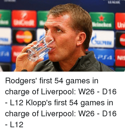 Rodgering: Uni  uMIM  PS4 NIf Rodgers' first 54 games in charge of Liverpool: W26 - D16 - L12 Klopp's first 54 games in charge of Liverpool: W26 - D16 - L12