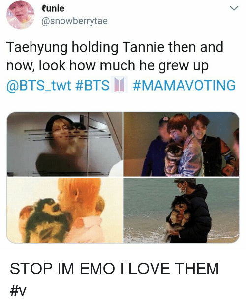 Emo, Love, and Bts: unie  @snowberrytae  Taehyung holding Tannie then and  now, look how much he grew up  @BTS.twt STOP IM EMO I LOVE THEM #v