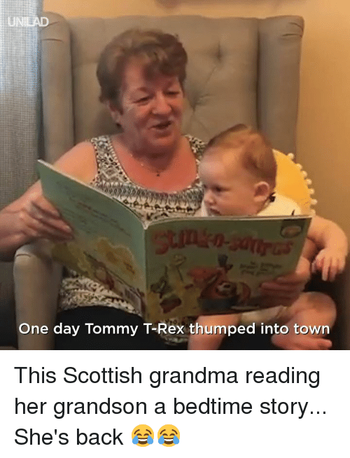 Dank, Grandma, and Scottish: UNIEAD  One day Tommy T-Rex thumped into towrn This Scottish grandma reading her grandson a bedtime story... She's back 😂😂