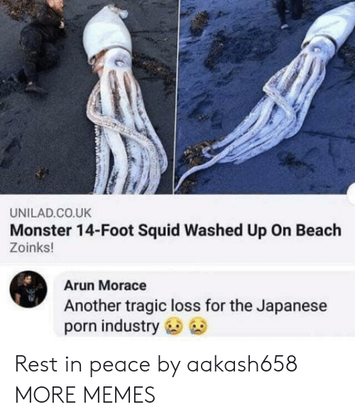 rest in peace: UNILAD.CO.UK  Monster 14-Foot Squid Washed Up On Beach  Zoinks!  Arun Morace  Another tragic loss for the Japanese  porn industry Rest in peace by aakash658 MORE MEMES
