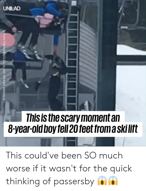 Dank, Been, and 🤖: UNILAD  This is thescary moment an  8-year-oldboy fell 20 feet froma skilit This could've been SO much worse if it wasn't for the quick thinking of passersby 😱😱