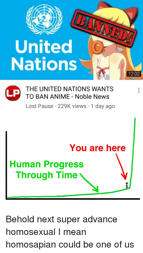 Anime, News, and Reddit: United  Nations  12:02  THE UNITED NATIONS WANTS  TO BAN ANIME Noble News  Lost Pause 229K views 1 day ago  LP  You are here  Human Progress  Through Time