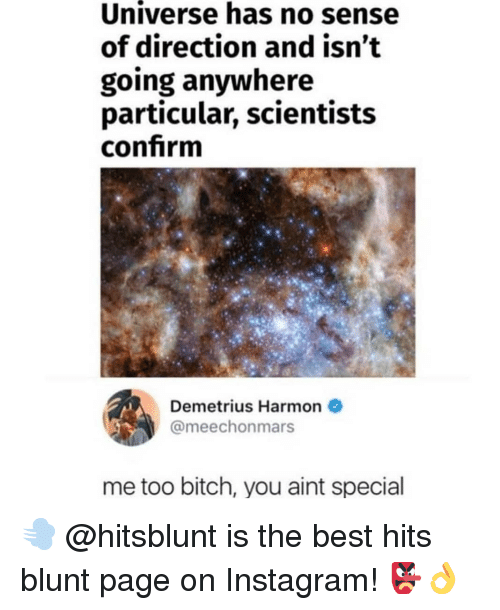 Bitch, Instagram, and Memes: Universe has no sense  of direction and isn't  going anywhere  particular, scientists  confrm  Demetrius Harmon  @meechonmars  me too bitch, you aint special 💨 @hitsblunt is the best hits blunt page on Instagram! 👺👌
