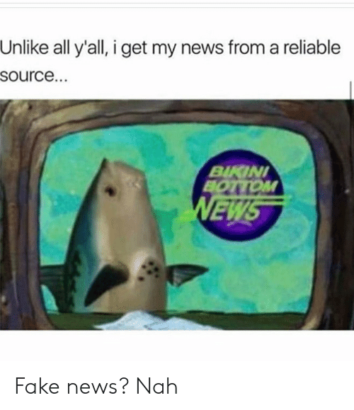 I Get My News From A Reliable Source: Unlike all y'all, i get my news from a reliable  source.  BIKIN  BOTTOM  EW Fake news? Nah