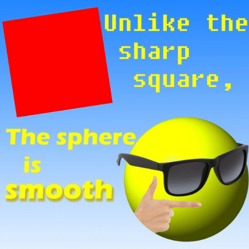 Smooth, Square, and Sharp: Unlike the  sharp  square  The sphere  is  smooth