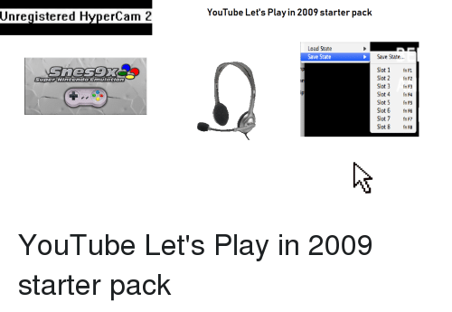 Unregistered HyperCam 2 YouTube Let's Play in 2009 Starter Pack Load