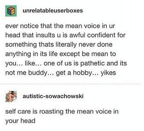 Roasting: unrelatableuserboxes  ever notice that the mean voice in ur  head that insults u is awful confident for  something thats literally never done  anything in its life except be mean to  you... like... one of us is pathetic and its  not me buddy.. get a hobby... yikes  autistic-sowachowski  self care is roasting the mean voice in  your head