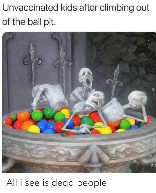 Climbing, Kids, and Terrible Facebook: Unvaccinated kids after climbing out  of the ball pit. All i see is dead people