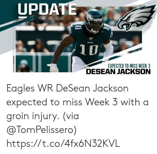 Philadelphia Eagles, Memes, and DeSean Jackson: UPDATE  EACLES  EXPECTED TO MISS WEEK 3 Eagles WR DeSean Jackson expected to miss Week 3 with a groin injury. (via @TomPelissero) https://t.co/4fx6N32KVL