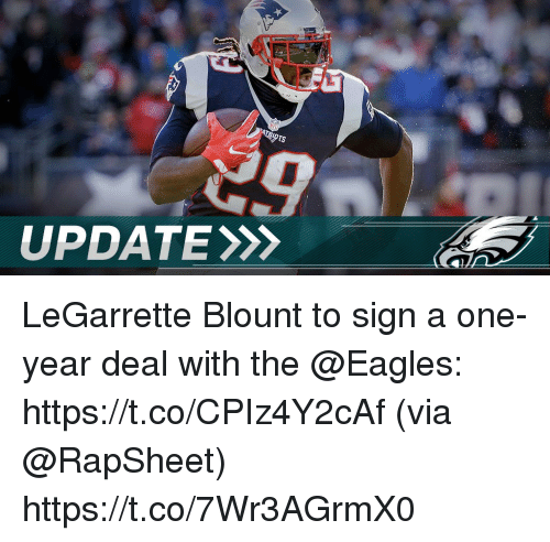 legarrette blount: UPDATE LeGarrette Blount to sign a one-year deal with the @Eagles: https://t.co/CPIz4Y2cAf (via @RapSheet) https://t.co/7Wr3AGrmX0