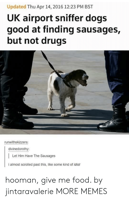 Dank, Dogs, and Drugs: Updated Thu Apr 14, 2016 12:23 PM BST  UK airport sniffer dogs  good at finding sausages,  but not drugs  runwithskizzers:  divinedorothy:  | Let Him Have The Sausages  i almost scrolled past this, like some kind of idiot hooman, give me food. by jintaravalerie MORE MEMES