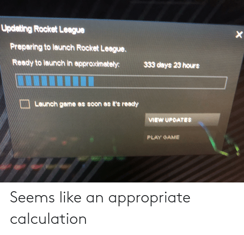 Calculation: Updeting Rocket League  Preparing to launch Rocket League.  Ready to launch in approximately:  333 days 29 hors  Launch game as soon as it's ready  VIEW UPRATES  PLAY GAME Seems like an appropriate calculation