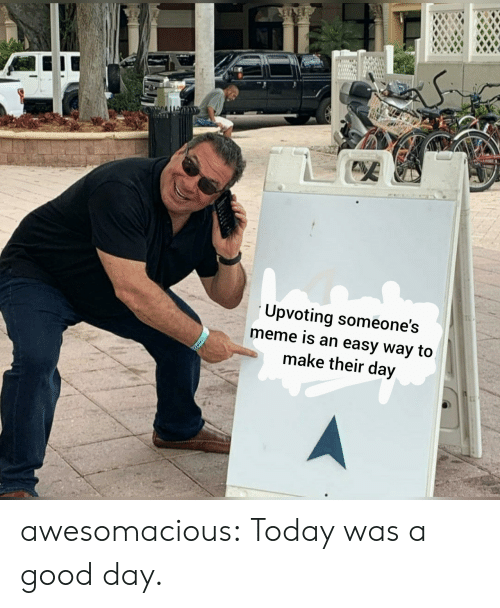 Meme, Tumblr, and Blog: Upvoting someone's  meme is an easy way to  make their day awesomacious:  Today was a good day.