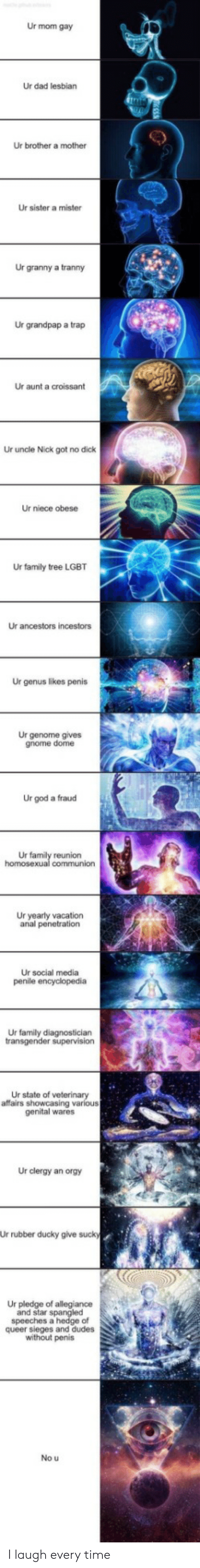 Lesbian: Ur mom gay  Ur dad lesbian  Ur brother a mother  Ur sister a mister  Ur granny a tranny  Ur grandpap a trap  Ur aunt a croissant  Ur uncle Nick got no dick  Ur niece obese  Ur family tree LGBT  Ur ancestors incestors  Ur genus likes penis  Ur genome gives  gnome dome  Ur god a fraud  Ur family reunion  homosexual communion  Ur yearly vacation  anal penetration  Ur social media  penile encyclopedia  Ur family diagnostician  transgender supervision  Ur state of veterinary  affairs showcasing various  genital wares  Ur clergy an orgy  Ur rubber ducky give sucky  Ur pledge of allegiance  and star spangled  speeches a hedge of  queer sieges and dudes  without penis  No u I laugh every time