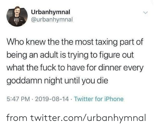 Being an adult: Urbanhymnal  @urbanhymnal  ASS  Who knew the the most taxing part of  being an adult is trying to figure out  what the fuck to have for dinner every  goddamn night until you die  5:47 PM 2019-08-14 Twitter for iPhone from twitter.com/urbanhymnal