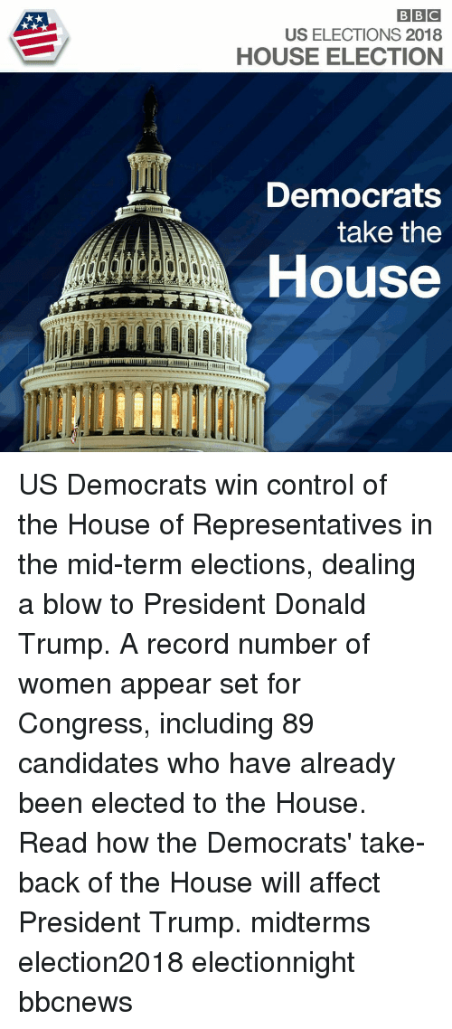 Donald Trump, Memes, and Control: US ELECTIONS 2018  HOUSE ELECTION  Democrats  take the  House US Democrats win control of the House of Representatives in the mid-term elections, dealing a blow to President Donald Trump. A record number of women appear set for Congress, including 89 candidates who have already been elected to the House. Read how the Democrats' take-back of the House will affect President Trump. midterms election2018 electionnight bbcnews