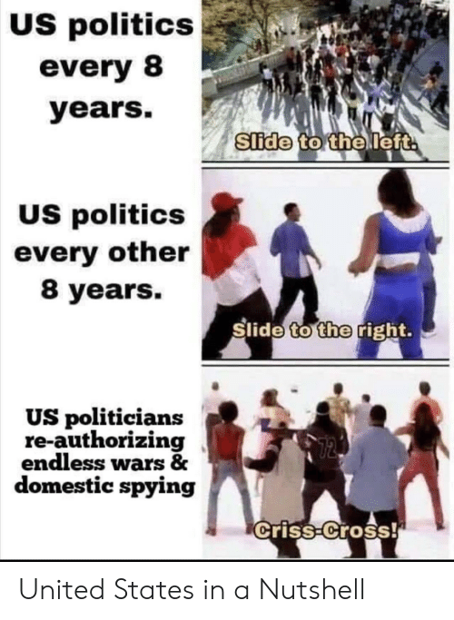Politics: US politics  every 8  years.  Slide to the left  US politics  every other  8 years.  Slide to the right.  US politicians  re-authorizing  endless wars &  domestic spying  criss-Cross! United States in a Nutshell