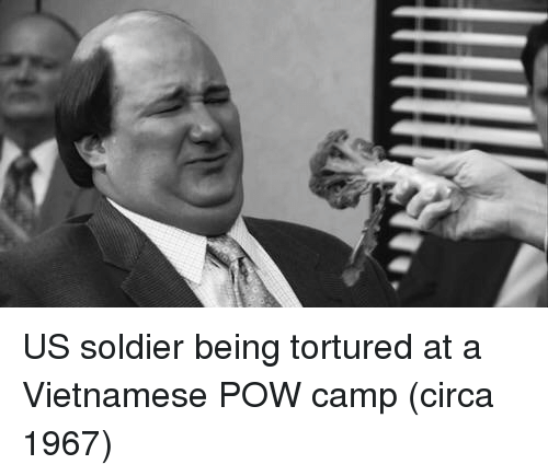 Vietnamese, Camp, and Soldier: US soldier being tortured at a Vietnamese POW camp (circa 1967)