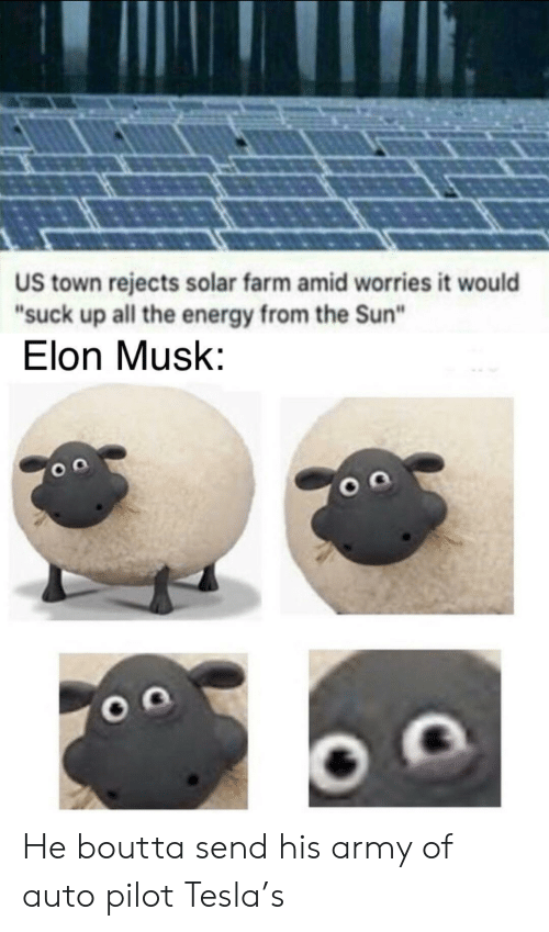 "Energy, Army, and All The: US town rejects solar farm amid worries it would  ""suck up all the energy from the Sun""  Elon Musk: He boutta send his army of auto pilot Tesla's"