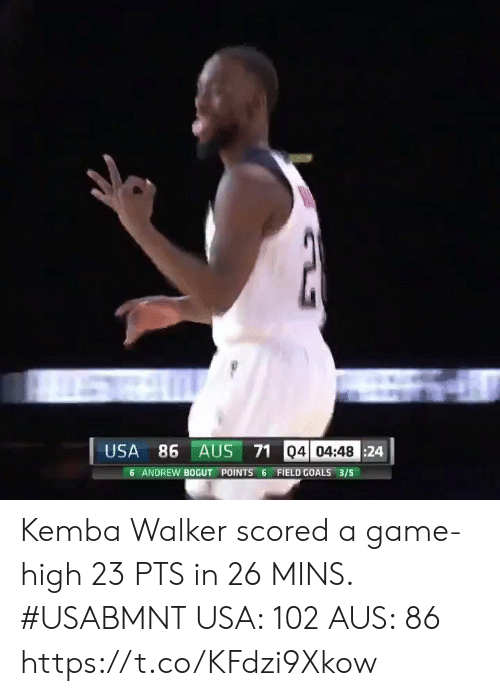 Andrew Bogut, Goals, and Memes: USA 86 AUS 71 04 04:48 24  6 ANDREW BOGUT POINTS 6 FIELD GOALS 3/5 Kemba Walker scored a game-high 23 PTS in 26 MINS. #USABMNT  USA: 102 AUS: 86   https://t.co/KFdzi9Xkow