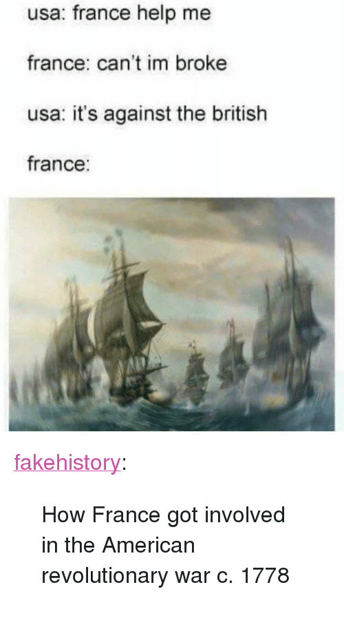 """Tumblr, American, and Blog: usa: france help me  france: can't im broke  usa: it's against the british  france: <p><a href=""""https://fakehistory.tumblr.com/post/174609000274/how-france-got-involved-in-the-american"""" class=""""tumblr_blog"""">fakehistory</a>:</p><blockquote><p>How France got involved in the American revolutionary war c. 1778</p></blockquote>"""