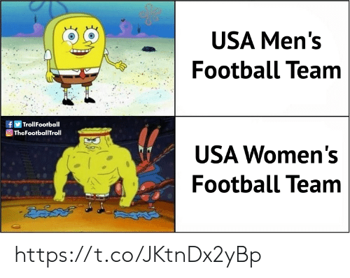 Football, Memes, and 🤖: USA Men's  Football Team  f  |TrollFootball  TheFootballTroll  USA Women's  Football Team https://t.co/JKtnDx2yBp