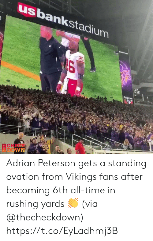 Becoming: usbankstadium  26  25  Andersen  AW  CHECK  FDOWN Adrian Peterson gets a standing ovation from Vikings fans after becoming 6th all-time in rushing yards 👏 (via @thecheckdown) https://t.co/EyLadhmj3B