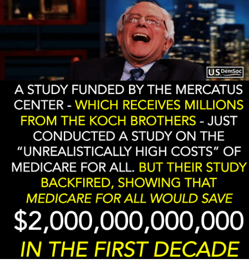 """Medicare, Koch Brothers, and Brothers: USDemsoc  A STUDY FUNDED BY THE MERCATUS  CENTER - WHICH RECEIVES MILLIONS  FROM THE KOCH BROTHERS - JUST  CONDUCTED A STUDY ON THE  """"UNREALISTICALLY HIGH COSTS"""" OF  MEDICARE FOR ALL. BUT THEIR STUDY  BACKFIRED, SHOWING THAT  MEDICARE FOR ALL WOULD SAVE  $2,000,000,000,000  IN THE FIRST DECADE"""