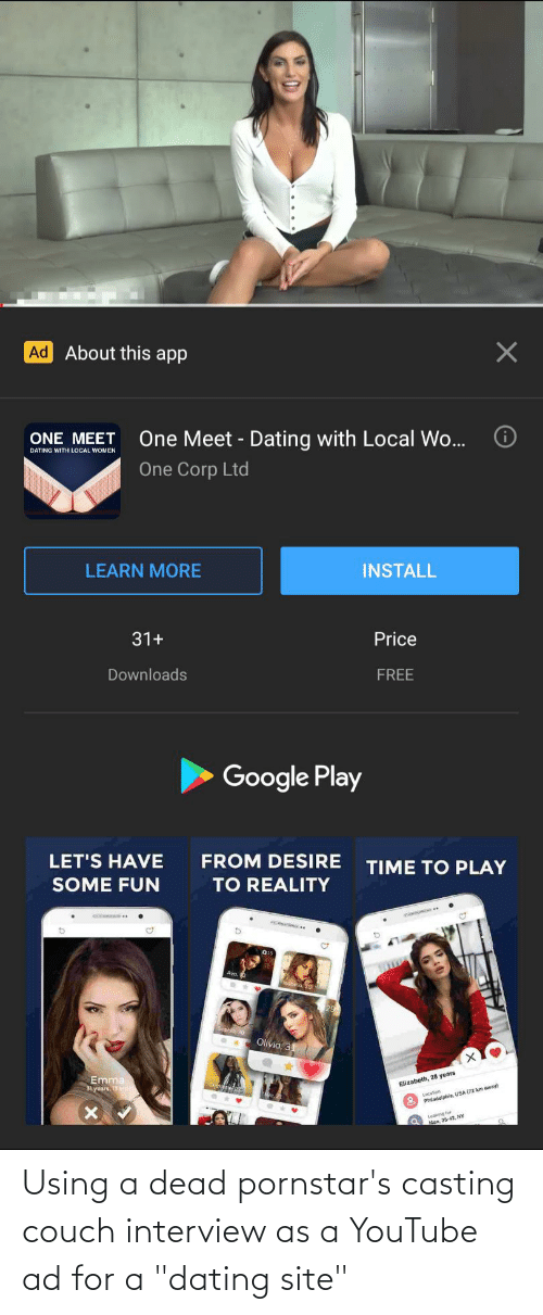 """Couch: Using a dead pornstar's casting couch interview as a YouTube ad for a """"dating site"""""""