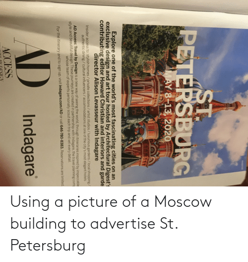 building: Using a picture of a Moscow building to advertise St. Petersburg