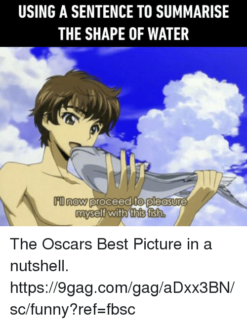the oscars: USING A SENTENCE TO SUMMARISE  THE SHAPE OF WATER  m now proceed to pleasure  myself with this fisth The Oscars Best Picture in a nutshell.  https://9gag.com/gag/aDxx3BN/sc/funny?ref=fbsc