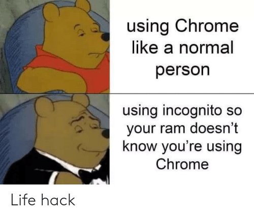 Chrome, Life, and Life Hack: using Chrome  like a normal  person  using incognito so  your ram doesn't  know you're using  Chrome Life hack