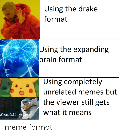 Drake, Meme, and Memes: Using the drake  format  Using the expanding  brain format  Using completely  unrelated memes but  the viewer still gets  what it means  Kowalski, analysis meme format